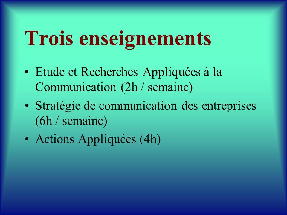 Trois enseignements Etude et Recherches Appliquées à la Communication (2h / semaine) Stratégie de communication des entreprises (6h / semaine)