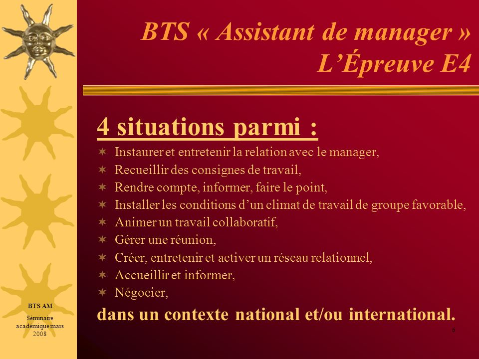 BTS « Assistant de manager » L'Épreuve E4