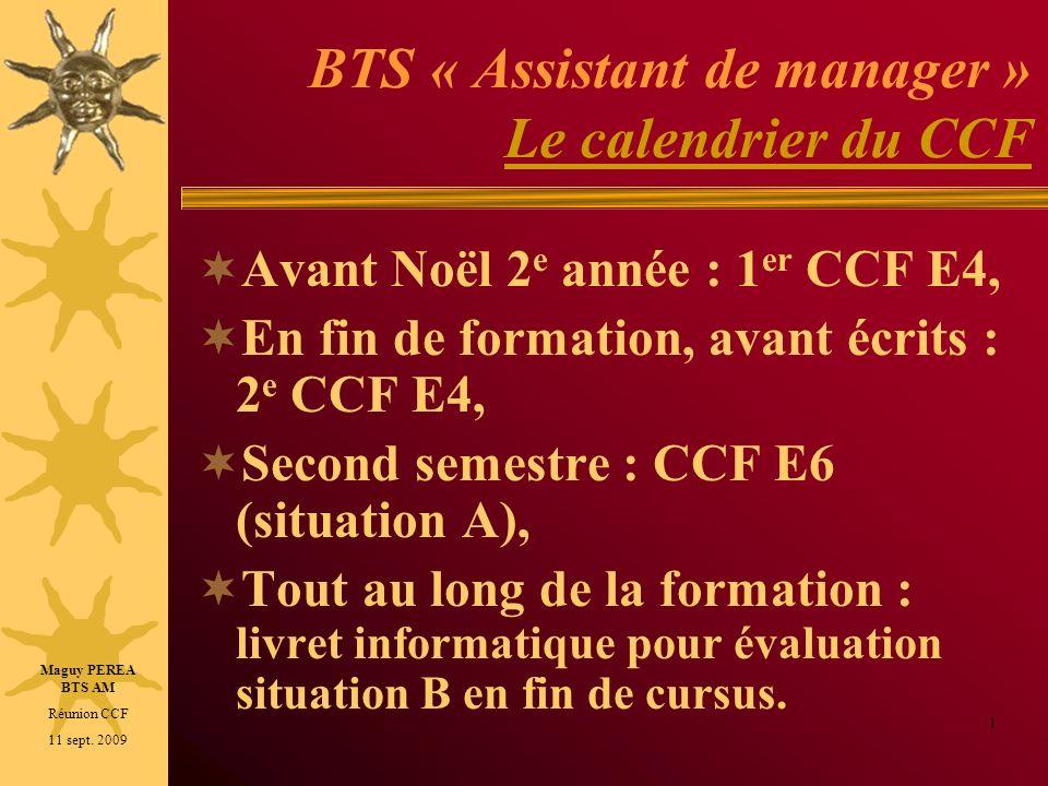 BTS « Assistant de manager » Le calendrier du CCF