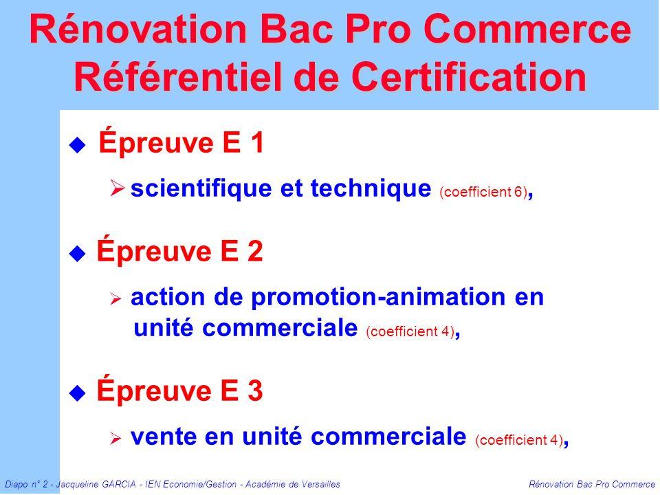 Rénovation Bac Pro Commerce Référentiel de Certification