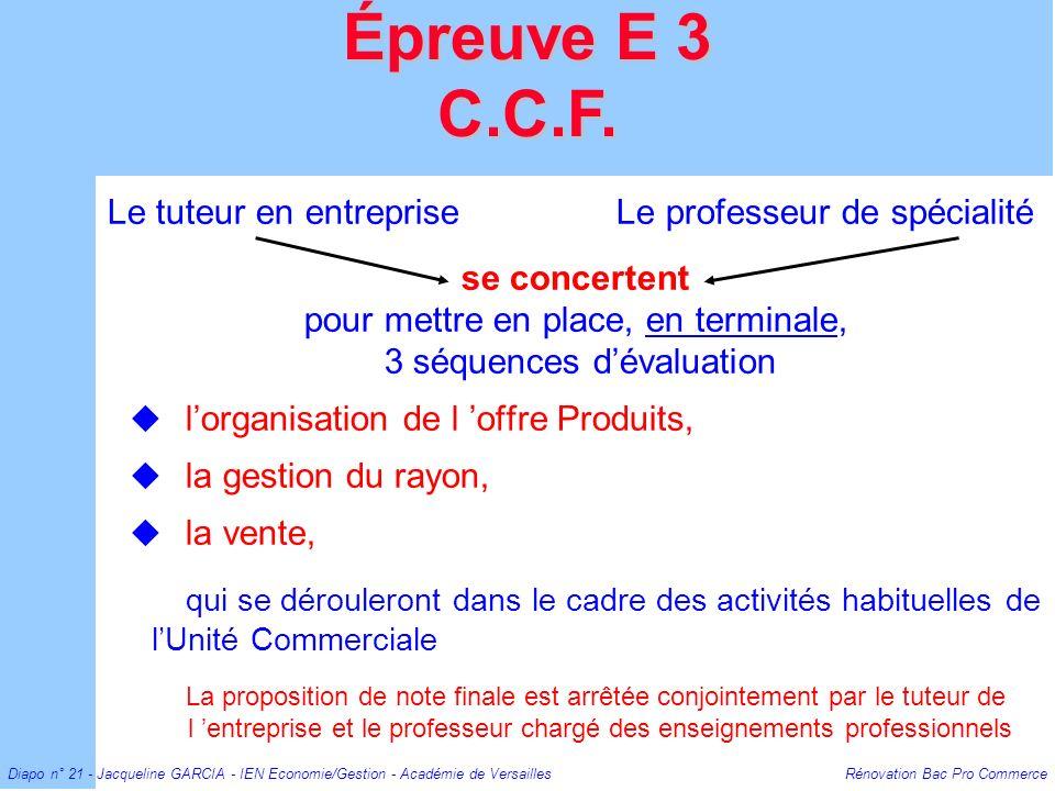 Épreuve E 3 C.C.F. Le tuteur en entreprise Le professeur de spécialité