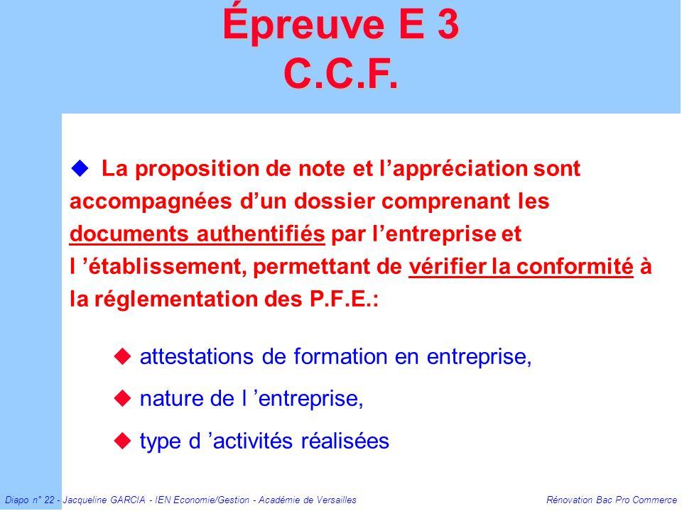 Épreuve E 3 C.C.F.
