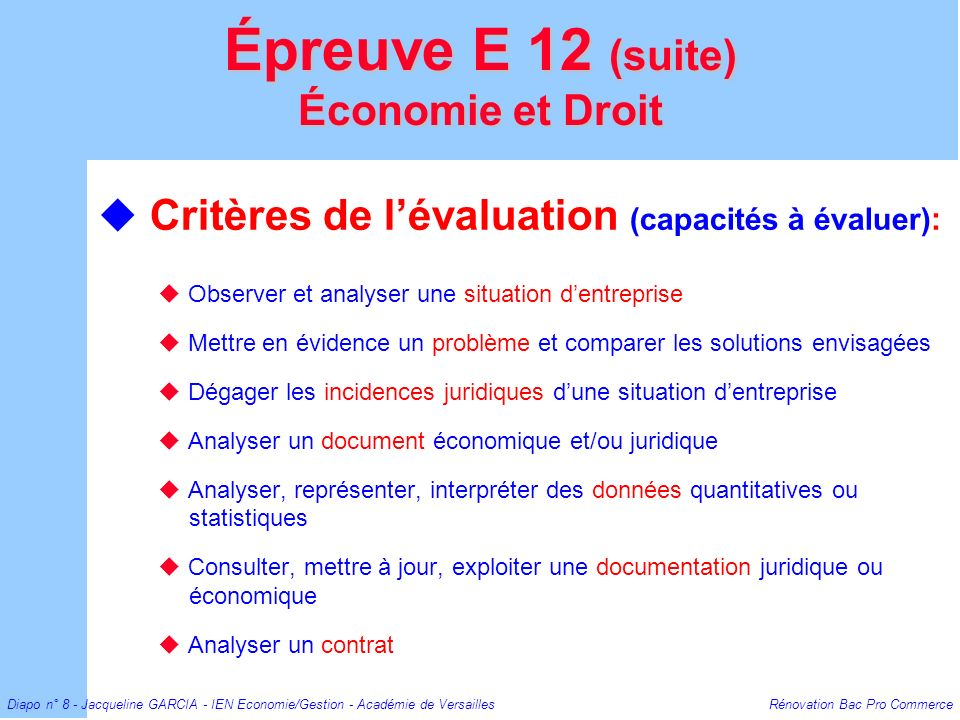 Épreuve E 12 (suite) Économie et Droit
