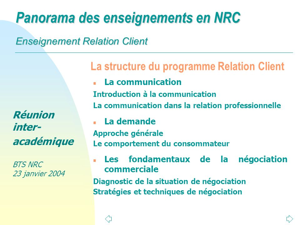 La structure du programme Relation Client