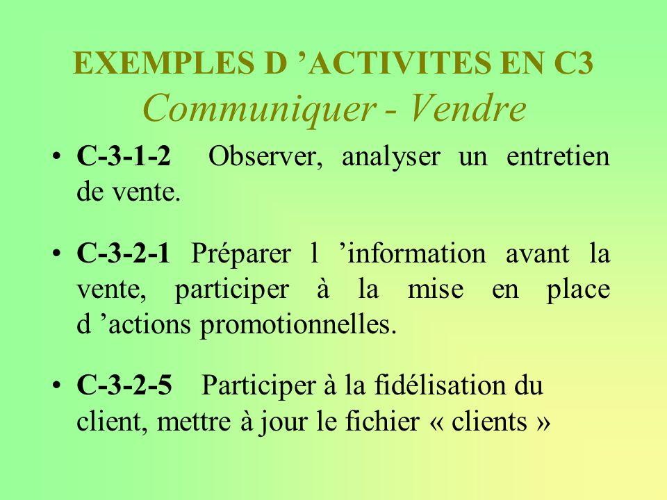 EXEMPLES D 'ACTIVITES EN C3 Communiquer - Vendre