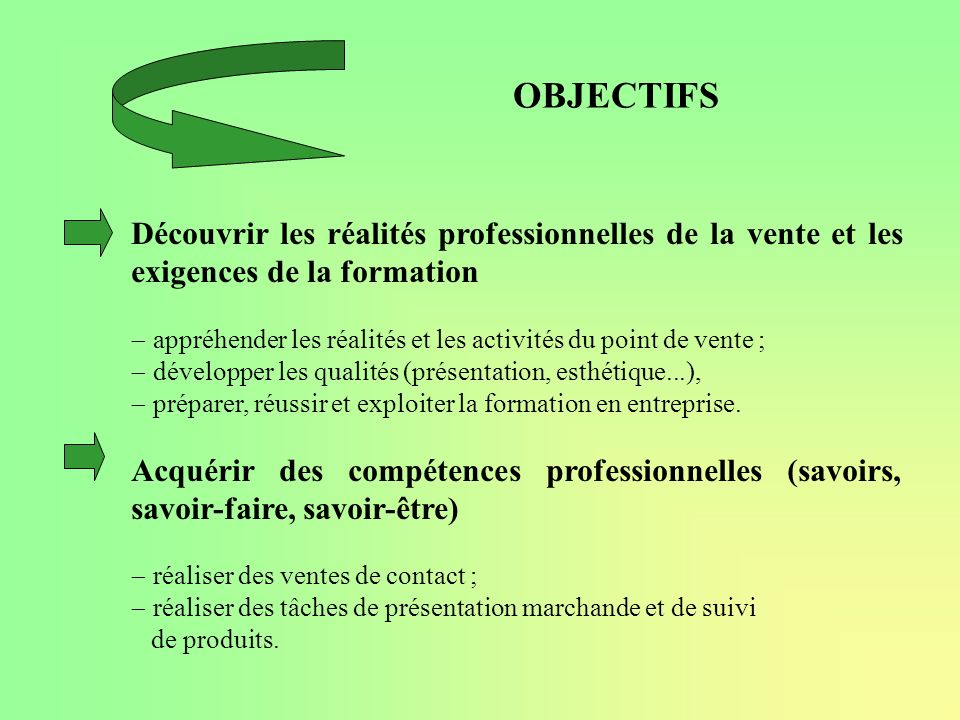 OBJECTIFS Découvrir les réalités professionnelles de la vente et les exigences de la formation.