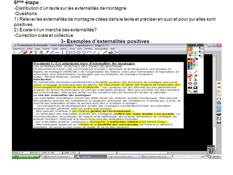 6ème étape : -Distribution d'un texte sur les externalités de montagne