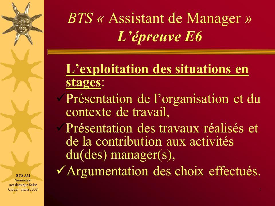 BTS « Assistant de Manager » L'épreuve E6
