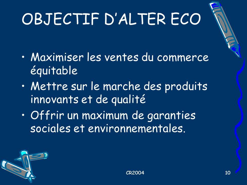 OBJECTIF D'ALTER ECO Maximiser les ventes du commerce équitable