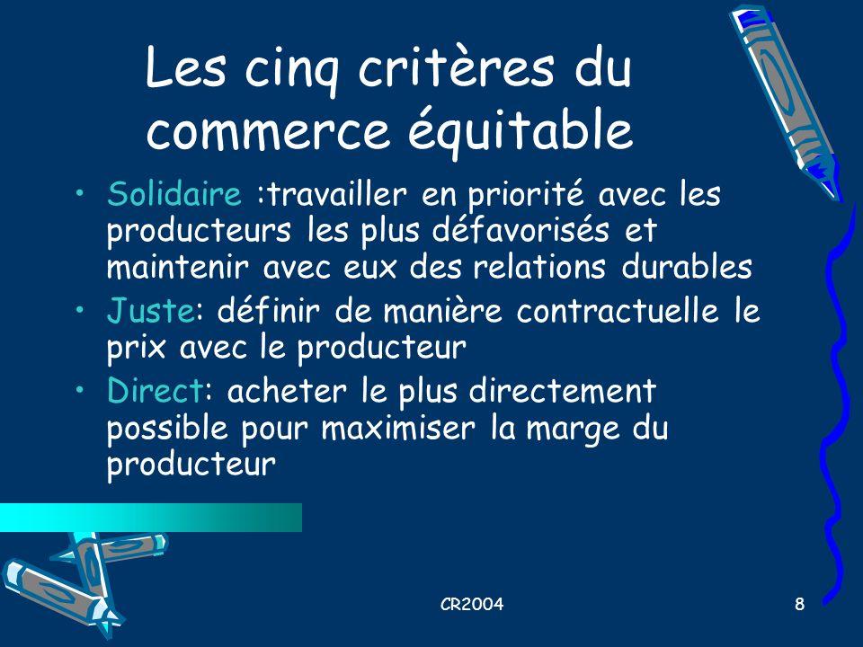 Les cinq critères du commerce équitable