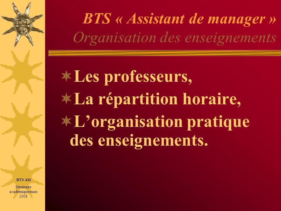 BTS « Assistant de manager » Organisation des enseignements