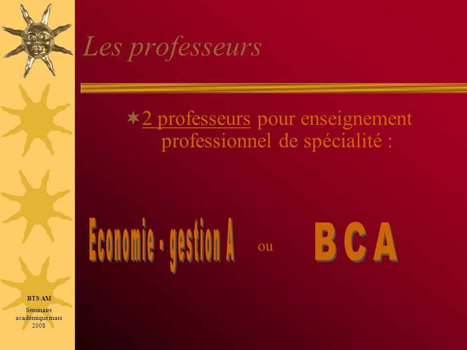 Les professeurs Economie - gestion A BCA