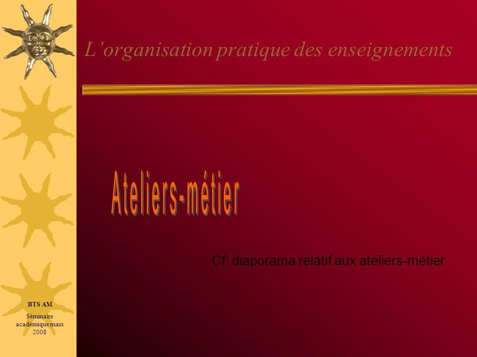 L'organisation pratique des enseignements