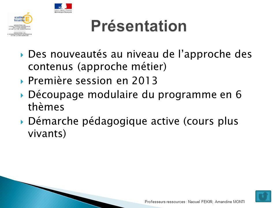 Présentation Des nouveautés au niveau de l'approche des contenus (approche métier) Première session en 2013.