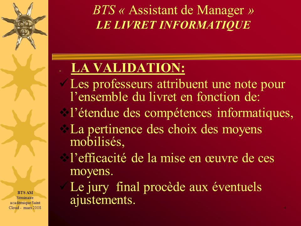 BTS « Assistant de Manager » LE LIVRET INFORMATIQUE