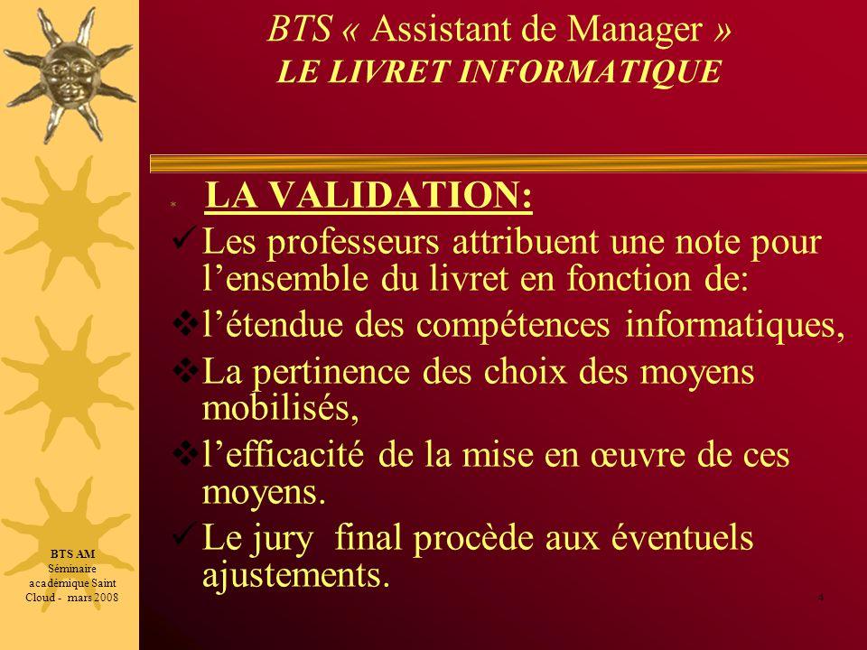 BTS « Assistant de Manager » LE LIVRET INFORMATIQUE