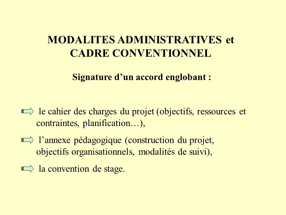 MODALITES ADMINISTRATIVES et CADRE CONVENTIONNEL