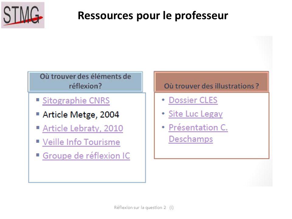 Ressources pour le professeur