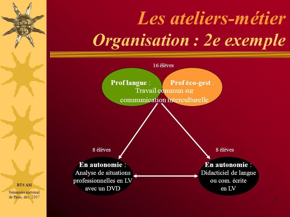 Les ateliers-métier Organisation : 2e exemple