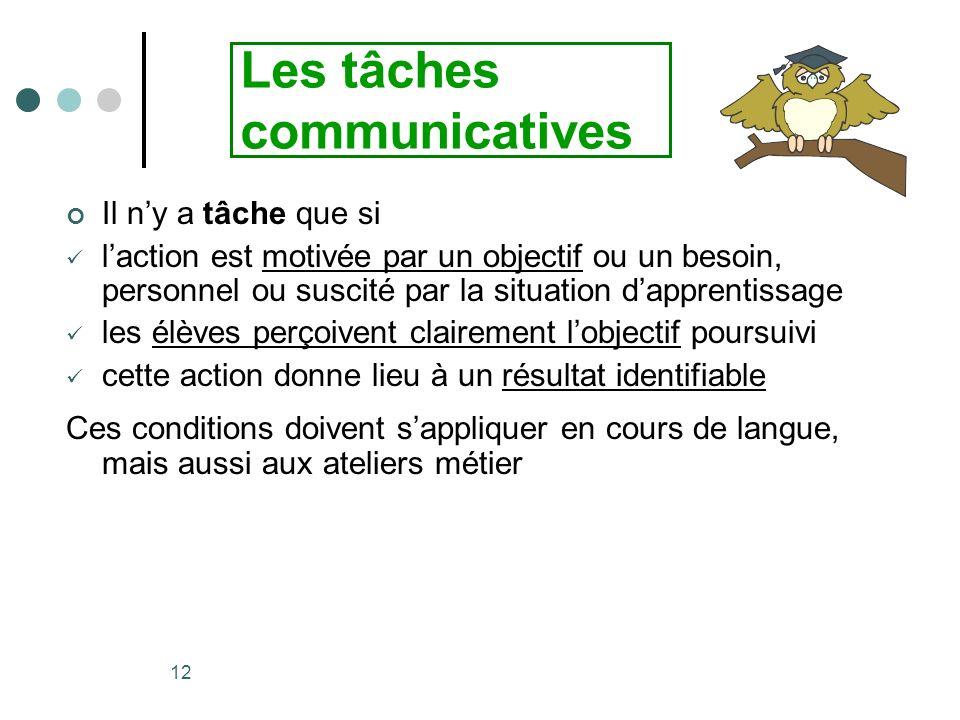 Les tâches communicatives