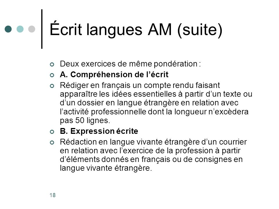 Écrit langues AM (suite)
