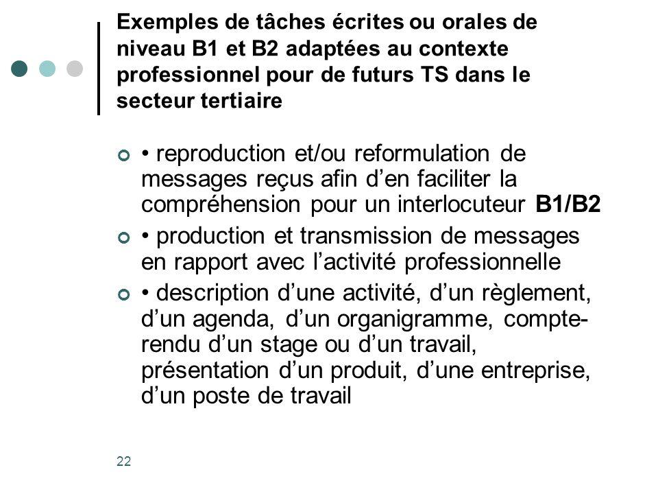 Exemples de tâches écrites ou orales de niveau B1 et B2 adaptées au contexte professionnel pour de futurs TS dans le secteur tertiaire