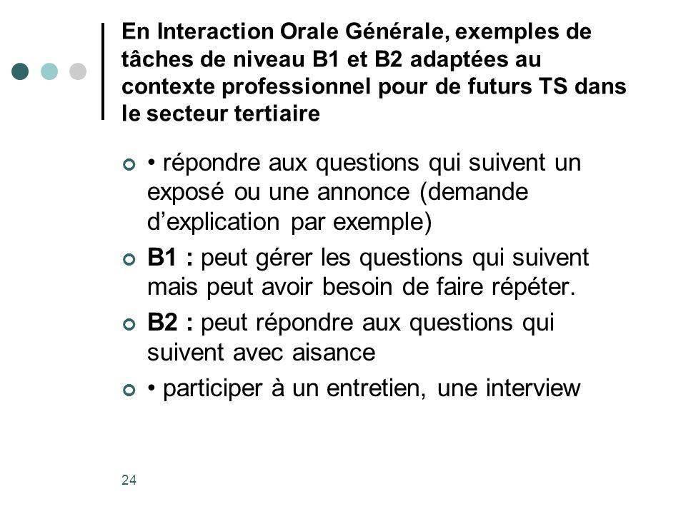 B2 : peut répondre aux questions qui suivent avec aisance