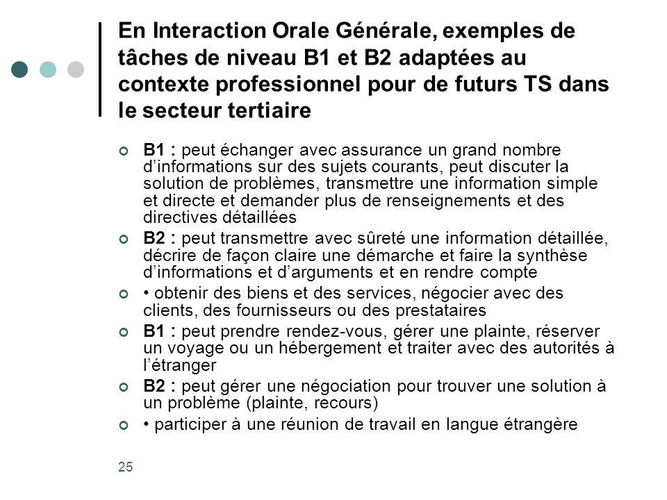 En Interaction Orale Générale, exemples de tâches de niveau B1 et B2 adaptées au contexte professionnel pour de futurs TS dans le secteur tertiaire
