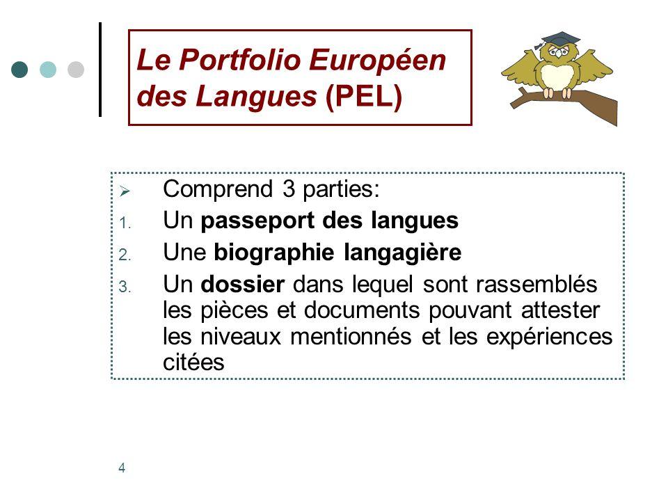 Le Portfolio Européen des Langues (PEL)