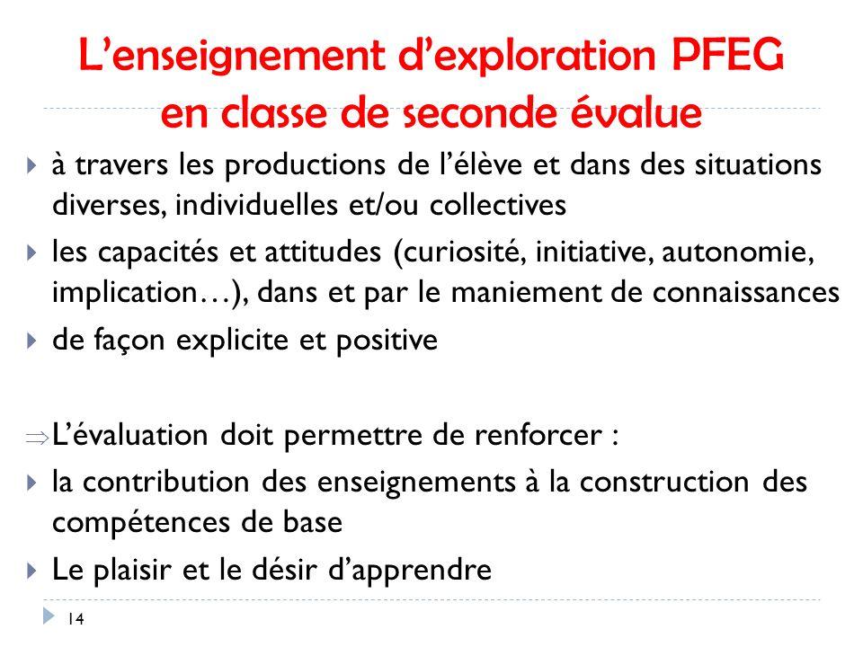 L'enseignement d'exploration PFEG en classe de seconde évalue