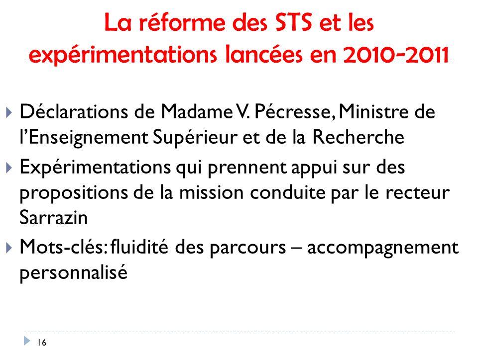La réforme des STS et les expérimentations lancées en 2010-2011