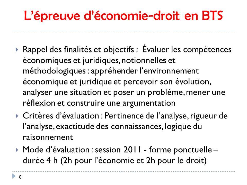 L'épreuve d'économie-droit en BTS