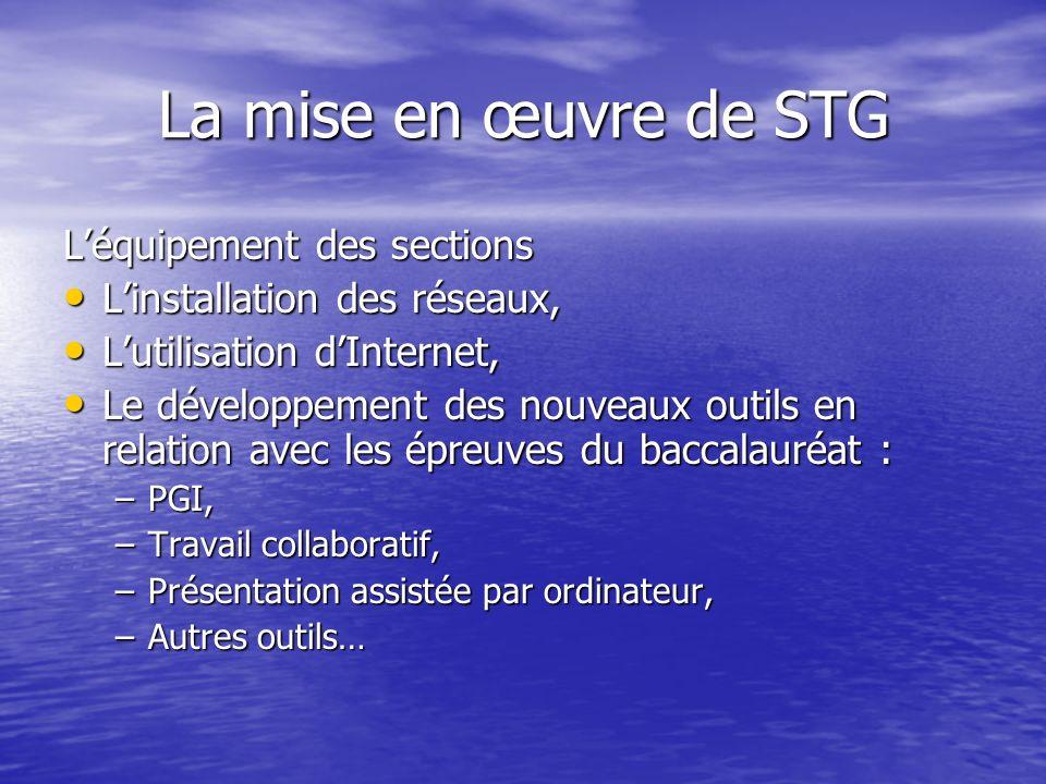 La mise en œuvre de STG L'équipement des sections