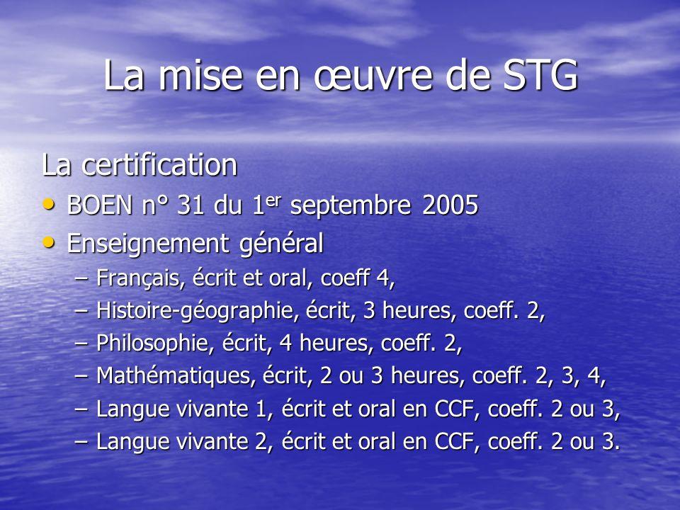 La mise en œuvre de STG La certification