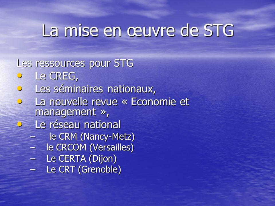 La mise en œuvre de STG Les ressources pour STG Le CREG,