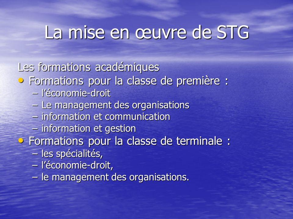 La mise en œuvre de STG Les formations académiques