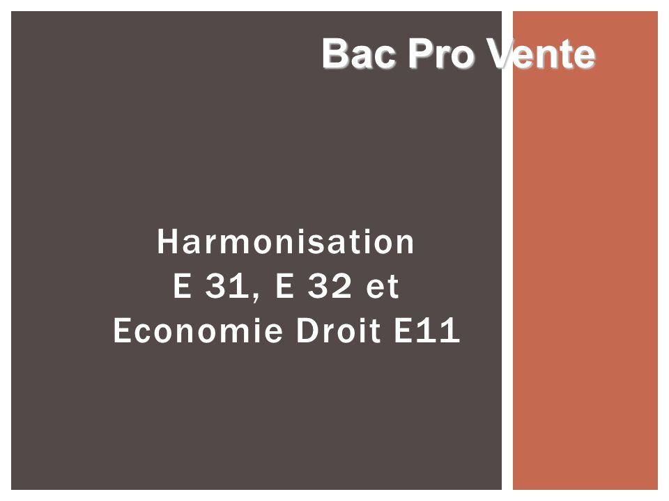 Harmonisation E 31, E 32 et Economie Droit E11