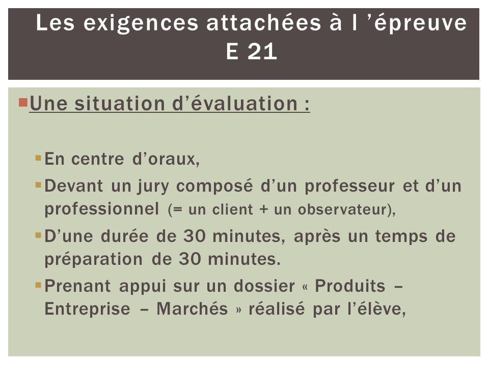 Les exigences attachées à l 'épreuve E 21