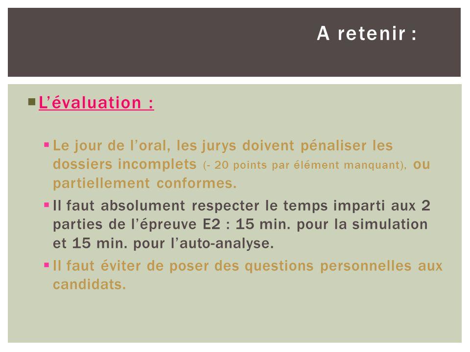 A retenir : L'évaluation :