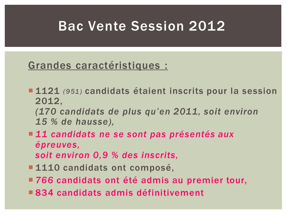 Bac Vente Session 2012 Grandes caractéristiques :