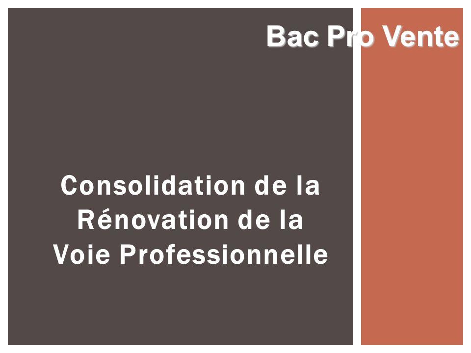 Consolidation de la Rénovation de la Voie Professionnelle