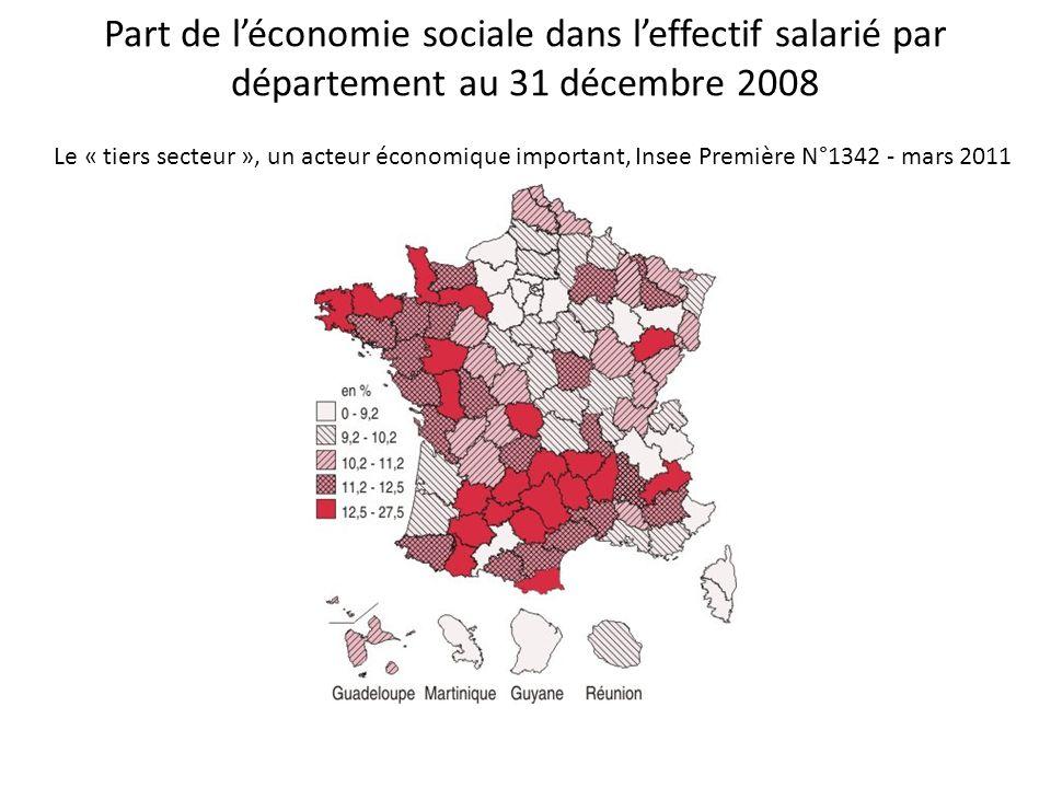 Part de l'économie sociale dans l'effectif salarié par département au 31 décembre 2008 Le « tiers secteur », un acteur économique important, Insee Première N°1342 - mars 2011