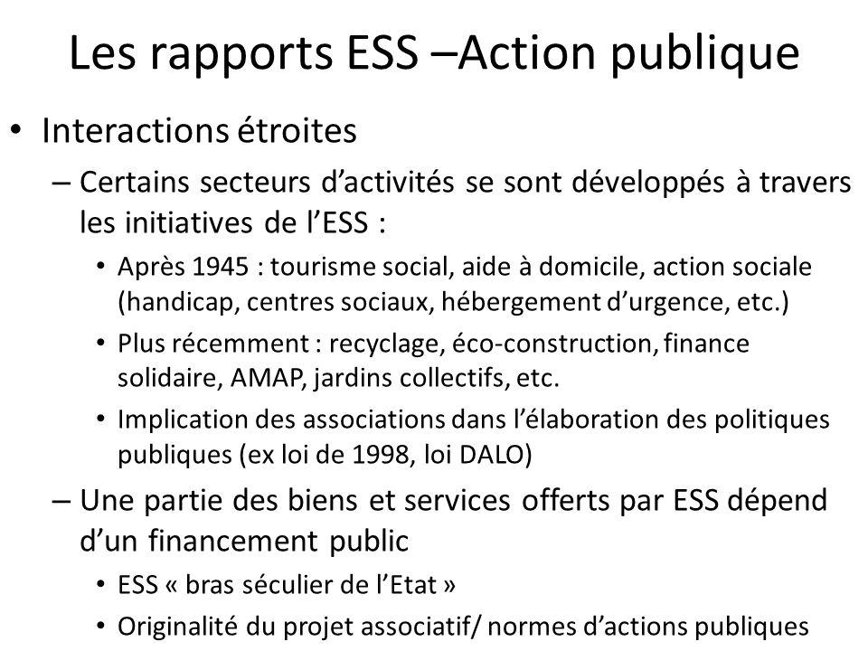 Les rapports ESS –Action publique