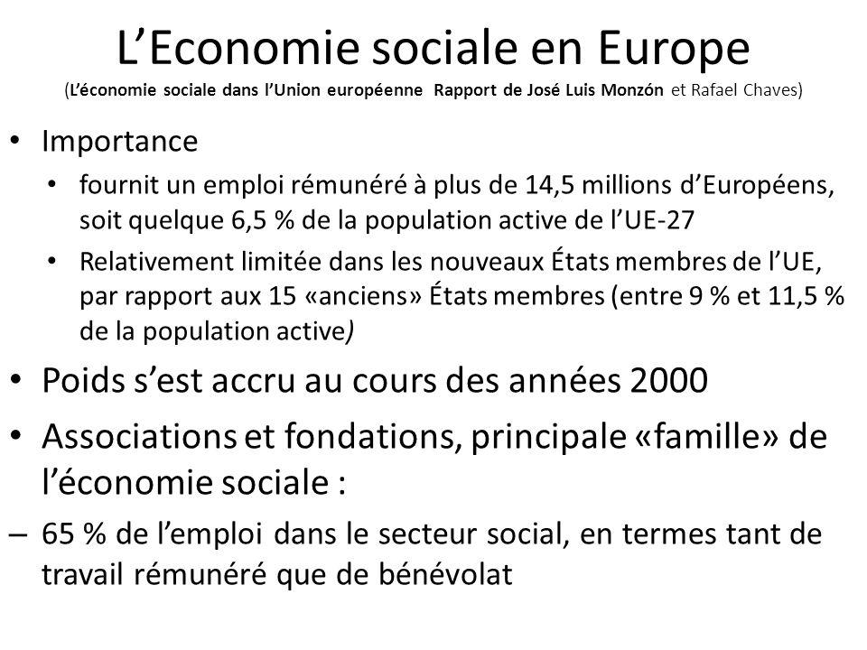 L'Economie sociale en Europe (L'économie sociale dans l'Union européenne Rapport de José Luis Monzón et Rafael Chaves)