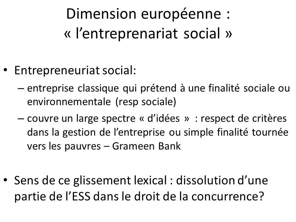 Dimension européenne : « l'entreprenariat social »