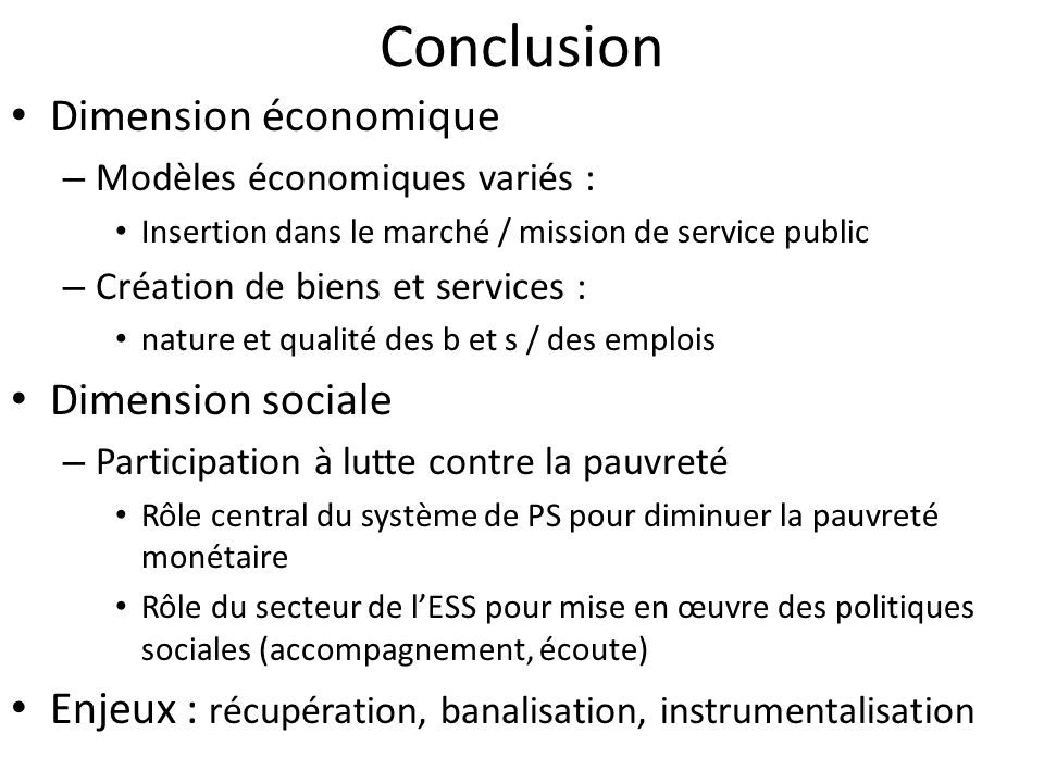 Conclusion Dimension économique Dimension sociale