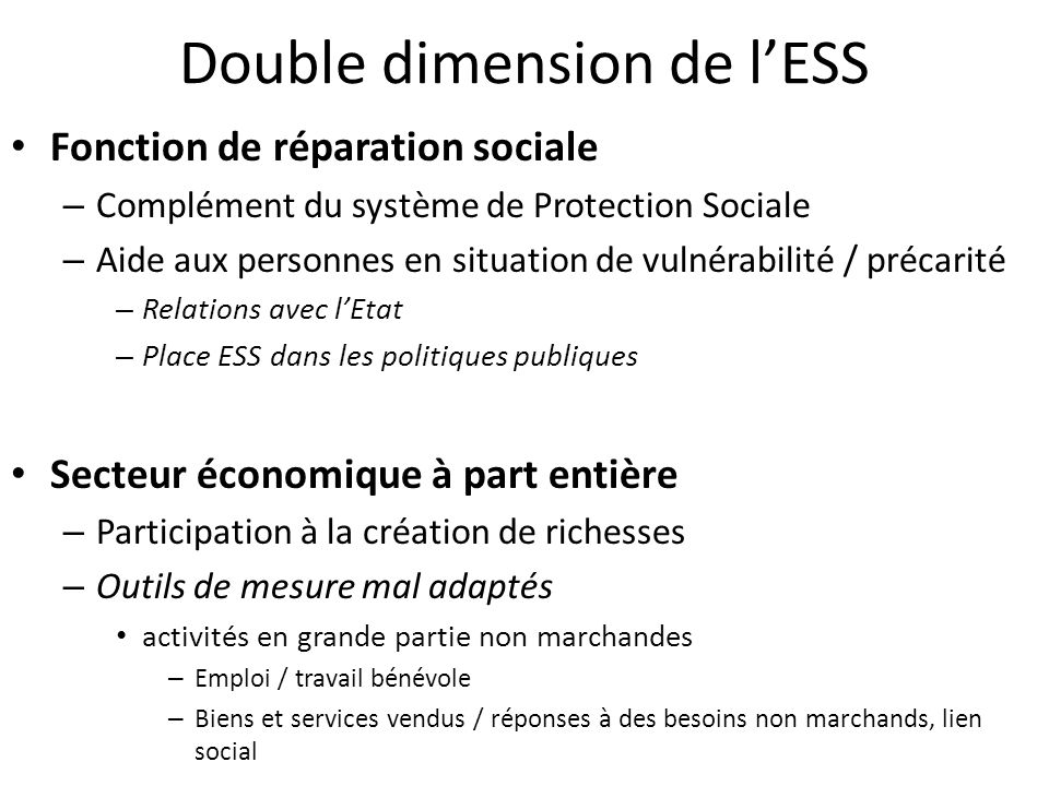 Double dimension de l'ESS