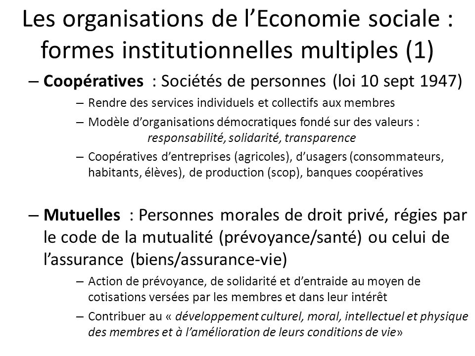 Les organisations de l'Economie sociale : formes institutionnelles multiples (1)