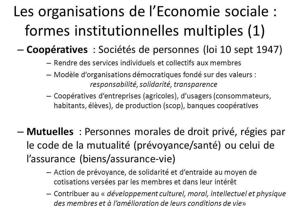 Les organisations de l'Economie sociale : formes institutionnelles multiples (1)