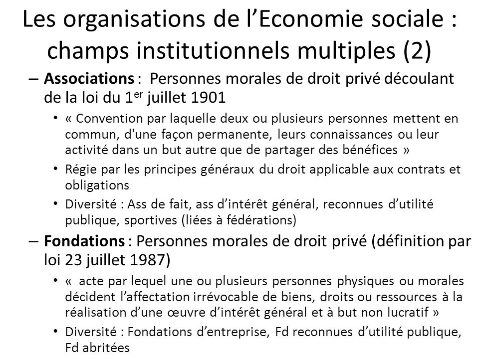 Les organisations de l'Economie sociale : champs institutionnels multiples (2)